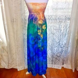 Smocked strapless colorful floral maxi dress